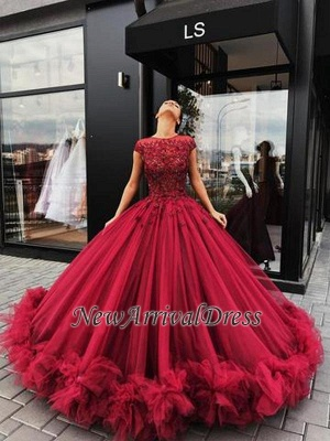 Short Sleeves Burgundy Ball Gown Luxury Scoop Prom Dresses_1