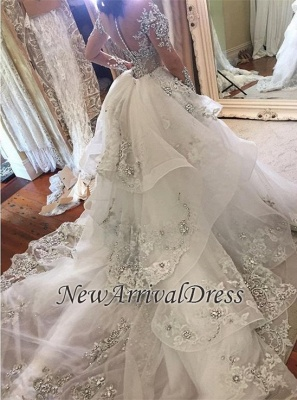 Appliques Long Sleeve Glamorous Detachable Train Tulle High-Neck Wedding Dresses Cheap Online_1