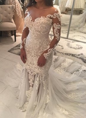 Elegant New Arrival Long Sleeve Mermaid Wedding Dresses | Long Train Online Cheap Bridal Gowns_1