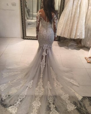 Elegant New Arrival Long Sleeve Mermaid Wedding Dresses | Long Train Online Cheap Bridal Gowns_3