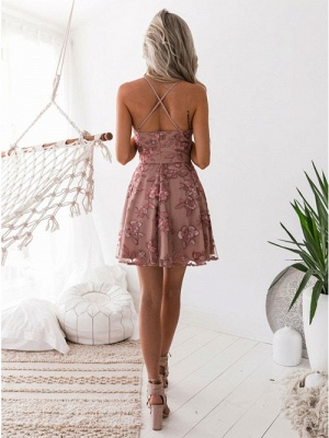 Classic Pink Floral Homecoming Dresses  Spaghetti Straps Lace Appliques Cocktail Dresses_4