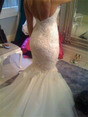 Sexy Spaghetti Straps Mermaid Wedding Dress Cheap Court Train Bridal Gowns with Buttons_3