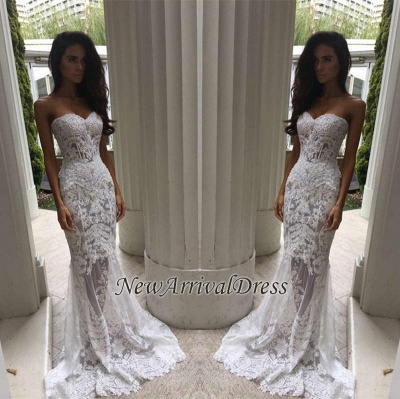 Sheer Tulle Lace Appliques Mermaid Bridal Gowns | Sweetheart Cheap Beach Wedding Dresses for Summer_1