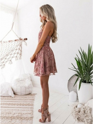 Classic Pink Floral Homecoming Dresses  Spaghetti Straps Lace Appliques Cocktail Dresses_3