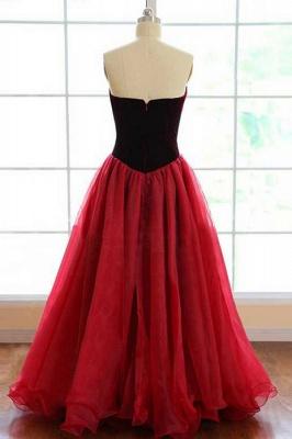 Newest Burgundy Sweetheart Sleeveless A-line Prom Dress_3