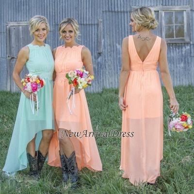 Jewel Chiffon Hi-Lo Newest A-line Sleeveless Bridesmaid Dress_1