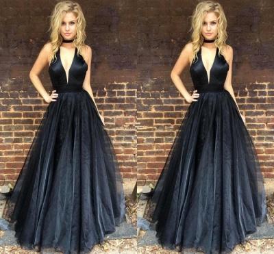 Black Newest A-line Floor-length V-neck Sleeveless Prom Dress_3