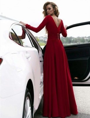 Sexy Red Long Sleeve V-neck Prom Dress | Front Split Evening Gown_3