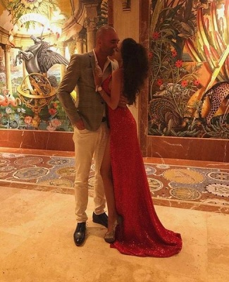 Sexy Red Sequin Prom Dresses | Halter Neck Backless High Slit Party Dresses_5