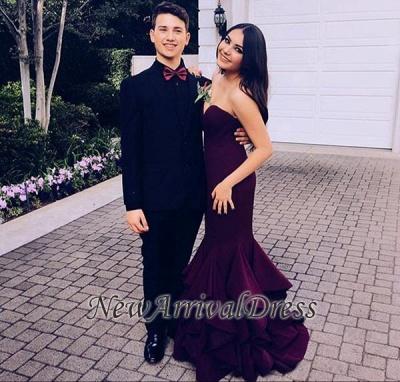 Sweep-Train Mermaid Sleeveless Sweetheart Newest Ruffles Prom Dress_1