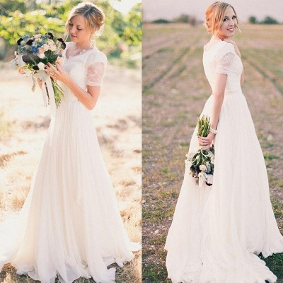 Popular Lace Chiffon Modest V-neck Short Sleeves A-line Wedding Dresses Cheap Online_3