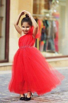 Nettes rotes Schulter-Tüll-langes Blumenmädchen-Kleid-preiswerte Kristallboden-Längen-Kleider für Mädchen