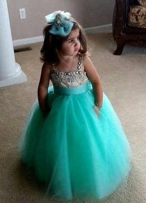 Straps Crystals Tulle Flower Girl Dress Cute Long Girl's Pageant Dress_1
