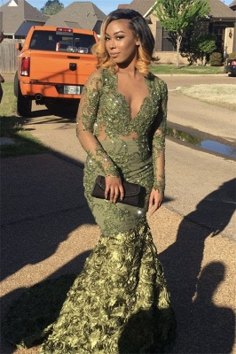 Cheap Prom Dresses with Long Sleeve | Green Mermaid V-Neck Formal Dresses SK0123_1