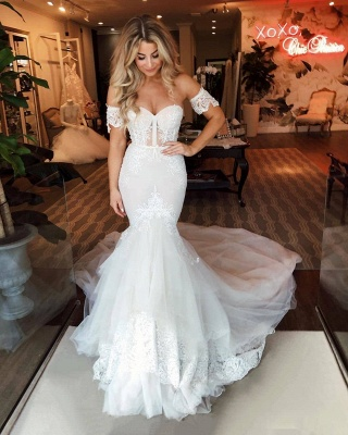 Off-the-shoulder Puffy Tulle Wedding Dresses | Appliques Mermaid Sweep Train Bridal Gowns_2