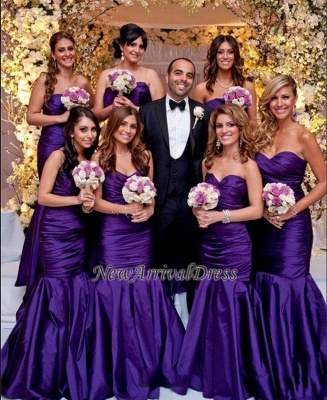 Modern Mermaid Sweetheart Purple Long Bridesmaid Dresses_1