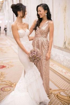 V-Neck Sequined Sheath Bridesmaids DressesRuffles Open Back Party Dresses_3
