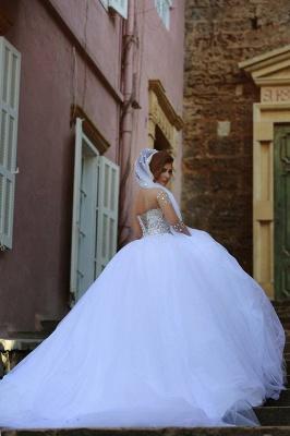 Sweetheart Crystalss Ball Gown Wedding Dress Cheap See Through Long Sleeve -up Princess Chapel Train Wedding Gowns_4