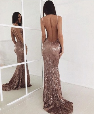 Beading Backless Sequin Sweep-train New-arrival Sexy Prom Dress_3