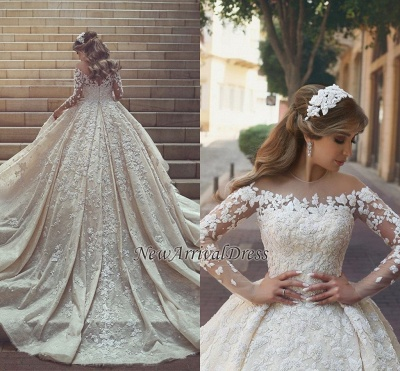 See Through Tulle Appliques Ivory Wedding Dresses | Long Sleeve Bridal Gowns with Cathedral Train_1