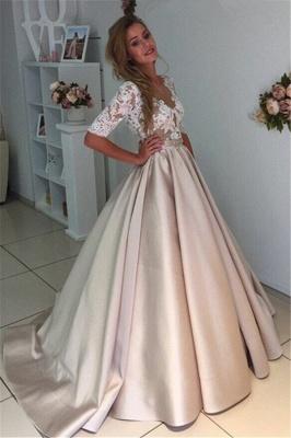A-Line Half-Sleeves Illusion Lace Puff Custom Made Elegant Wedding Dresses Cheap_3