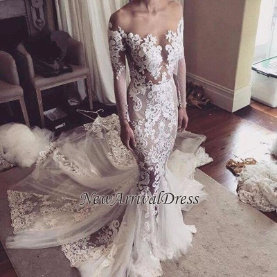Appliques Glamorous Tulle Mermaid Long Sleeve Sexy Wedding Dresses Cheap Online_1
