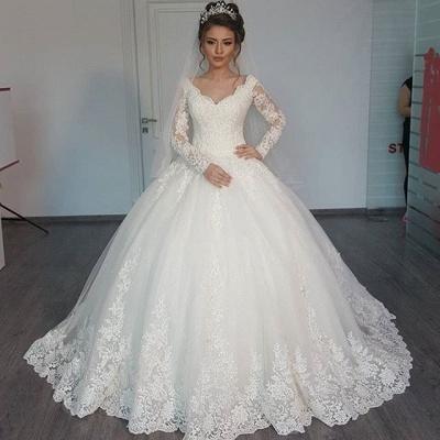 Long Sleeve Tulle V-Neck Elegant Vintage Lace Ball Gown Wedding Dresses Cheap Online_3