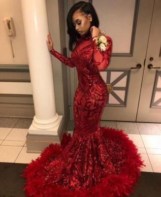 Long Sleeve Mermaid Red Prom Dresses Cheap  | Sequins Appliques Feather Formal Dress BC1327_3