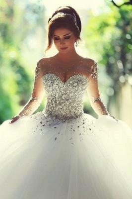 Sweetheart Crystalss Ball Gown Wedding Dress Cheap See Through Long Sleeve -up Princess Chapel Train Wedding Gowns_1