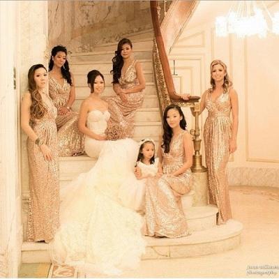 V-Neck Sequined Sheath Bridesmaids DressesRuffles Open Back Party Dresses_5