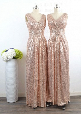 V-Neck Sequined Sheath Bridesmaids DressesRuffles Open Back Party Dresses_4