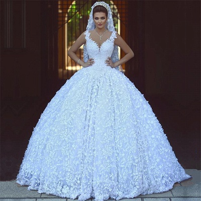 Sexy V-neck Straps Lace Wedding Dresses Cheap | Sleeveless Ball Gown Bridal Gowns 2019 with Appliques_3