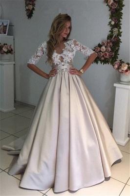 A-Line Half-Sleeves Illusion Lace Puff Custom Made Elegant Wedding Dresses Cheap_2