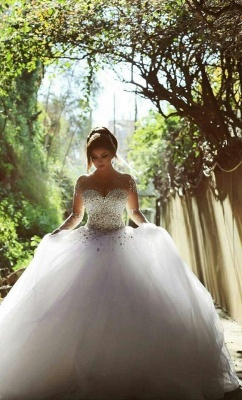 Sweetheart Crystalss Ball Gown Wedding Dress Cheap See Through Long Sleeve -up Princess Chapel Train Wedding Gowns_6