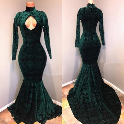 High Neck Velvet Mermaid Prom Dresses Cheap  Prom Dresses Cheap BA8867_2