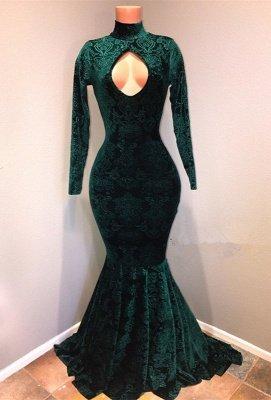 High Neck Velvet Mermaid Prom Dresses Cheap  Prom Dresses Cheap BA8867_1