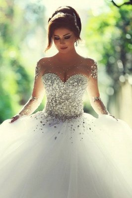 Sweetheart Crystalss Ball Gown Wedding Dress Cheap See Through Long Sleeve -up Princess Chapel Train Wedding Gowns_1