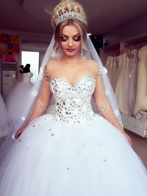 Brilliant Jewel Long-Sleeves Crystals Ball-Gown Wedding Dresses
