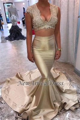 Champagne-Gold Sexy Lace Appliques Long-Train Mermaid V-neck Sleeveless Two-Piece Prom Dress_1