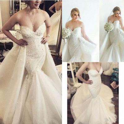 Ruffles Luxurious Strapless Sleeveless Mermaid Sexy Open Back Detachable Train Floral Wedding Dresses Cheap Online_5
