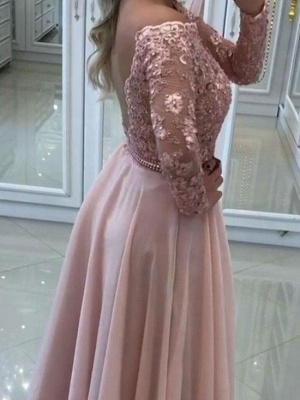 Delicate Lace Appliques A-line Off-the-shoulder- Long Sleeve Prom Dress_3