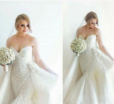 Ruffles Luxurious Strapless Sleeveless Mermaid Sexy Open Back Detachable Train Floral Wedding Dresses Cheap Online_4