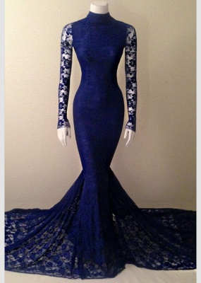 High Collar Lace Mermaid Long Prom Dresses Cheap Long Sleeve Evening Gowns_2