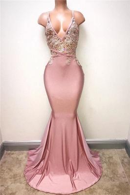 V-neck Beads Pink Long Prom Dresses Cheap | Mermaid Formal Dresses for Women_1