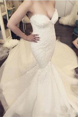 Ruffles Luxurious Strapless Sleeveless Mermaid Sexy Open Back Detachable Train Floral Wedding Dresses Cheap Online_3