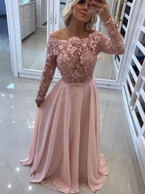 Delicate Lace Appliques A-line Off-the-shoulder- Long Sleeve Prom Dress_1