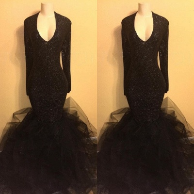Black Long Prom Dresses Cheap with Sleeves | Mermaid Formal Dresses Plus Size BA8155_3
