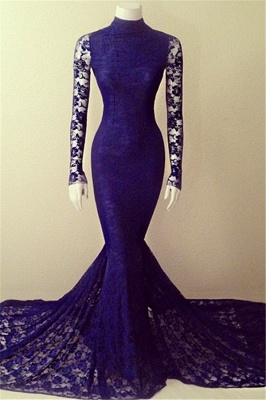 High Collar Lace Mermaid Long Prom Dresses Cheap Long Sleeve Evening Gowns_1