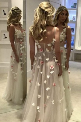Open Back Flowers Long Prom Dresses Cheap | Spaghetti Straps Sexy Formal Evening Gowns_3