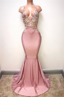 Sexy V-neck Beading Pink Prom Dresses Cheap | Mermaid Long Formal Dresses for Women